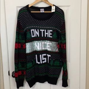 NWT Christmas sweater sequin XL